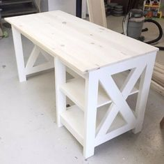 DIY Farmhouse X Desk for the Home Office #deskplansdiy #WoodProjectsDiyForTheHome