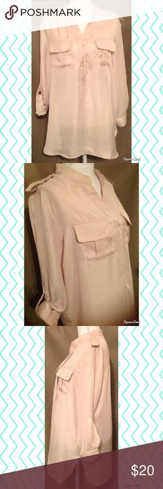 Cream Long Sleeve Button Up Shirt Super soft almost like silky material. Very comfortable when worn. Size: L ;100% Polyester. Tops Tees - Long Sleeve
