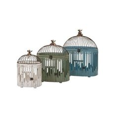 IMAX Home 65266-3 Elaine Bird Houses - Set of 3 N/A Home Decor Bird ($219) ❤ liked on Polyvore featuring home, outdoors, outdoor decor, accents, bird cages, home decor, bird cage nesting box, outdoor garden decor, wooden bird houses and bird nesting boxes