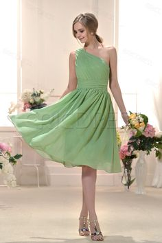 Fabulous Ruched Knee-Length One-Shoulder Train Bridesmaid Dress