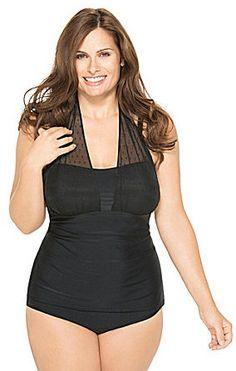 d51e10caf5e Christina Swimwear Woman Mesh Solid Halterkini Top & High-Waist Bottom Plus  Swimwear, Tankini