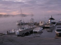Boats in the fog in Wolfeboro Bay