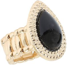 Yours Clothing Gold & Black Stone Teardrop Stretch Ring