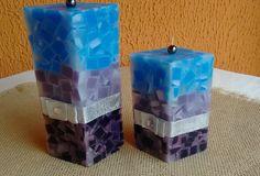 Conjunto de velas em mosaico para decoração de ambientes. Acesse www.magiadaluz08.net