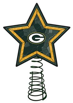 Green Bay Packers Mosaic Tree Topper >>> Check this awesome product by going to the link at the image. (This is an affiliate link) #ChristmasTreeToppers