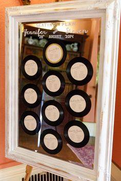 We used our mantle piece mirror and old vinyl records as the base for our table plan. Using names of songs that referenced 'running' as it is the hobbie where we first met Wedding Table Centres, Wedding Seating, Wedding Set Up, Wedding Music, Wedding Ideas, Record Table, Instrument Craft, Centre Pieces, Table Plans
