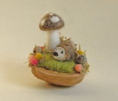 Tiny Hedgehog and Mushroom Needle Felted Walnut by gingerlittle, $26.00