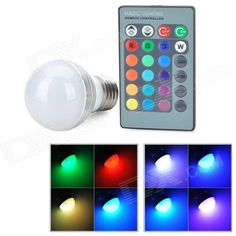 E27 3W LED Globe Bulb RGB Remote Controller US$ 5,76 http://www.dx.com/p/e27-3w-rgb-led-magic-spotlight-bulb-with-remote-controller-358057#.VPmG9UfF-JY
