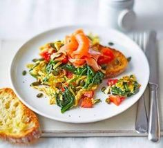 A scattering of pumpkin seeds, curry powder and smoked salmon will take your scrambled eggs to the next level Bbc Good Food Recipes, Egg Recipes, Recipies, Superfood Recipes, Healthy Recipes, Savoury Recipes, Healthy Meals, Scrambled Eggs, Eating Habits