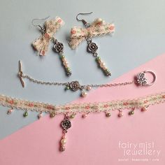 Full Set Sweet Floral Pink and Green by fairymistjewellery on Etsy Cute and sweet handmade pastel jewellery.  Ribbon floral flower roses with pearls set in silver.