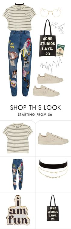 """""""pins + patches"""" by vale-ambriz ❤ liked on Polyvore featuring Monki, Y-3, Ashish, Charlotte Russe, ban.do, Acne Studios and Ray-Ban"""