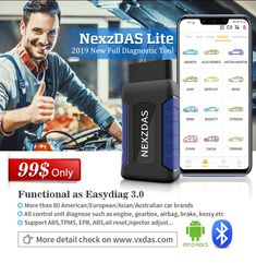 Nexzdas Lite is 2019 new Android Bluetooth car diangostic tool replace Easydiag ! ——APP + VCI ——Support More Than 80 Brands ——OBD +Resetting Functions ——Warranty/ Update Online/ Free Tech-Support 137 2882 3163 Remote Assistance, Programming Tools, Australian Cars, Free Cars, Car Bluetooth, Control Unit, Maybach, Car Brands