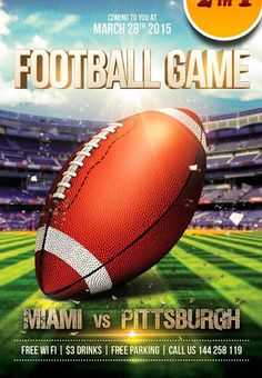 Football game Free Flyer PSD Template…