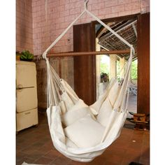 Hammock Chair, White Hammock Chair With Fringe And Loose Threads, Hanging  Chair Natural Cotton And Wood | Hammock Chair, Hanging Chair And Latte