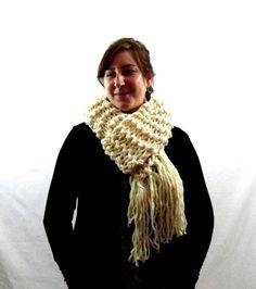 Cream White Chunky Knit Scarf with Fringe