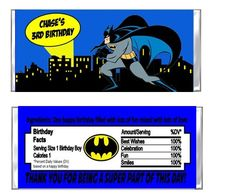 Personalized Batman Superhero Birthday Party Favors Hershey Candy Bar Wrappers by DannisCuteCreations