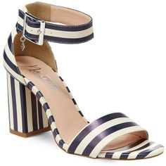Nanette By Nanette Lepore Tilda Awning Striped Block Heel Sandals (€73) ❤ liked on Polyvore featuring shoes, sandals, block heel sandals, block heel ankle strap sandals, open toe shoes, heeled sandals and cushioned shoes