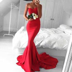 Red Sweetheart Long Sheath Prom Gowns 2017 Mermaid Strapless Gorgeous Evening Dresses