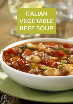 Warm your family this fall with this Italian Vegetable Beef Soup. It's a healthier recipe that takes just 25 minutes to make!