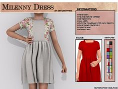 The Sims 4 Milenny Dress Sims 4 Cc Kids Clothing, Sims 4 Mods Clothes, Children Clothing, Sims 4 Game Mods, Sims Mods, The Sims 4 Bebes, Sims 4 Children, 4 Kids, Sims 4 Gameplay