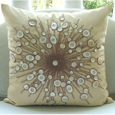 Decorative Throw Pillow Covers Couch Pillows 16 Inch Silk Pillow Cover Accent Pillow Mother Of Pearl Bead Embroidered Moon Glow Home Living. $32.75: