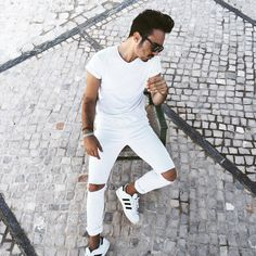 Today I choose white #man #adidas #superstar #white #outfit #ootd #guy #ripped #jeans #sunglasses