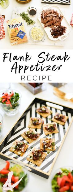 These easy Blue Cheese and Flank Steak appetizers are the perfect recipe for your girl's night in party! They're super quick and you can make them ahead of your guests arriving!