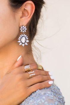 Crystal drop floral earrings