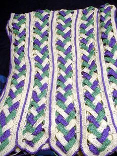 Crochet Afghans Ideas Ravelry: Braided Mile-A-Minute Afghan pattern by Diana B. Husband - The afghan is crocheted using worsted weight yarn and a size H mm) hook. Crochet Afghans, Crochet Squares Afghan, Crochet Quilt, Granny Square Crochet Pattern, Knit Or Crochet, Crochet Crafts, Crochet Stitches, Free Crochet, Crochet Blankets