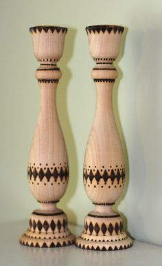 Woodburned Candle holders 9 by AnniesArtBook on Etsy, $22.00