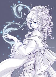 this drawing is beautiful ^-^ love the fact that this drawing is pretty colorless but her eyes really stand out ^.^