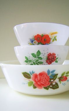 rose patterned Pyrex