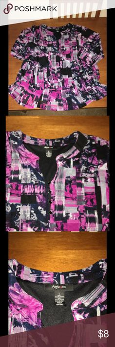 Style & Co Cinched Waist Top Large Style & Co print top.  Feels like a very soft tshirt.  Mandarin collar.  Waist is cinched with elastic creating a mini peplum.  Size large.  Excellent condition!   Important:   All items are freshly laundered as applicable prior to shipping (new items and shoes excluded).  Not all my items are from pet/smoke free homes.  Price is reduced to reflect this!   Thank you for looking! Style & Co Tops Blouses