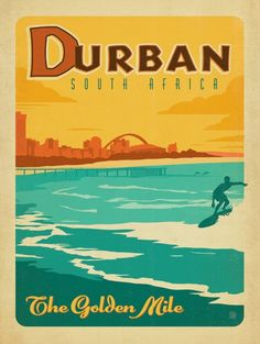 South Africa: Durban - We were inspired by vintage travel prints from the Golden Age of Poster Design. So we created our own series of classic prints that celebrate our favorite world-wide destinations. This print features Durban, South Africa Posters Decor, Deco Surf, Durban South Africa, Vintage Travel Posters, Retro Posters, Travel Images, Africa Travel, E Bay, Illustrations