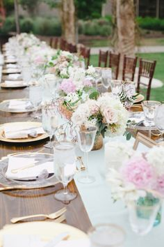 Mint runner on rustic table with light romantic flowers