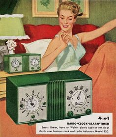 Rise & Shine with your new 4- in -1 Radio-Clock-Alarm-Timer; ca. 1950s.