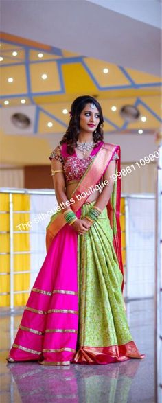 Discover recipes, home ideas, style inspiration and other ideas to try. Lehenga Saree Design, Lehenga Style Saree, Lehenga Designs, Saree Dress, Bridal Lehenga, Saree Wedding, Wedding Bride, Sarees, Half Saree Designs