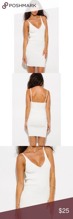 White knitted mini dress 👗🌟 Its a very sexy and cute dress to wear on date night or party 🌸 Unlined, Fitted 90% Rayon 10% spandex made in USA Dresses Mini