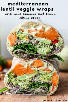 These Mediterranean lentil veggie wraps make the perfect vegan weekday lunch or supper. Packed with lemony lentils spinach roasted veggies lemon tahini sauce hummus and spinach these are packed with protein and staying power! Veggie Recipes, Lunch Recipes, Whole Food Recipes, Vegetarian Recipes, Healthy Recipes, Cooking Recipes, Veggie Dinners, Whole Foods, Vegetarian Sandwiches