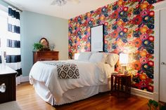 Elizabeth doesn't shy away from mixing patterns, as seen here in the master bedroom.