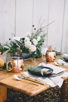 copper wedding accents - Vintage Wedding Inspiration at Bernal Gulnac Joice Ranch Wedding Table Decorations, Wedding Table Settings, Decoration Table, Wedding Centerpieces, Place Settings, Masquerade Centerpieces, Decoration Inspiration, Wedding Inspiration, Style Inspiration