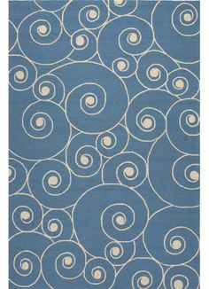 Coastal Living Indoor-Outdoor Rug / Nautilus - Blue & White: Beach House Decor, Coastal Living Boutique, Nautical, Seaside & Tropical Decor