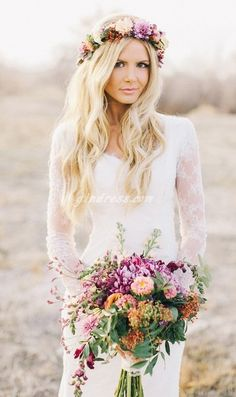 beach wedding dress beach wedding dresses. Love the flowers, too!