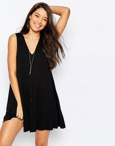 Image 1 ofASOS Sleeveless Swing Dress With Button Front