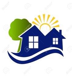 Houses Sun Tree And Waves Icon Vector Royalty Free Cliparts, Vectors, And Stock Illustration. Image 27340973.