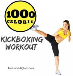 1000 Calorie At-Home Kickboxing Workout - this is intense! Tone-and-Tighten.com