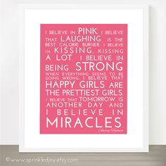 I Believe in Pink - Audrey Hepburn Inspirational Quote, Modern 8x10 Print, Many Colors & Sizes Available - Breast Cancer - Inspirational by SprinkledJoy on Etsy https://www.etsy.com/listing/111319511/i-believe-in-pink-audrey-hepburn