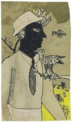 Lucian Freud (British, 1922-2011), Man and bird in landscape, 1942. Watercolour, bodycolour, pen and black ink on card, shaped, 9 x 5¼ in.