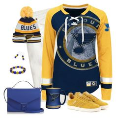 St Louis Blues  Game Day by carriefdix on Polyvore featuring Majestic, J.Crew, adidas Originals and PB 0110