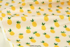 Pineapple Fabric Pineapple Pattern 44x35 100% Cotton by KoreaBacol